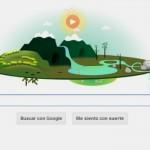 El doodle de google celebra el día de la tierra.